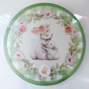Floral Spring Bunny Lazy Susan Rotating Plate
